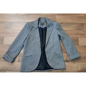 TopShop Blazer Jacket Black w/ White Circles Lined